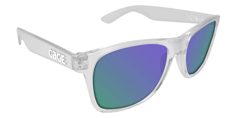 Clear Sunglasses With Purple Mirrored Lenses