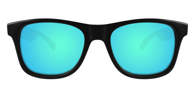 Black Wayfarer Sunglasses With Light Blue Mirrored Lenses
