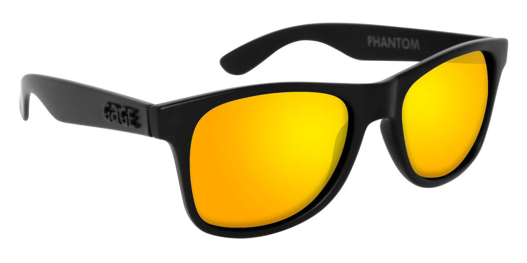 Black Wayfarer Sunglasses With Yellow Mirrored Lenses