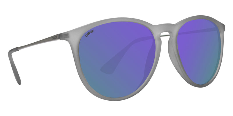 Transparent Matte Grey Sunglasses With Silver Metal Arms and Polarized Purple Lenses