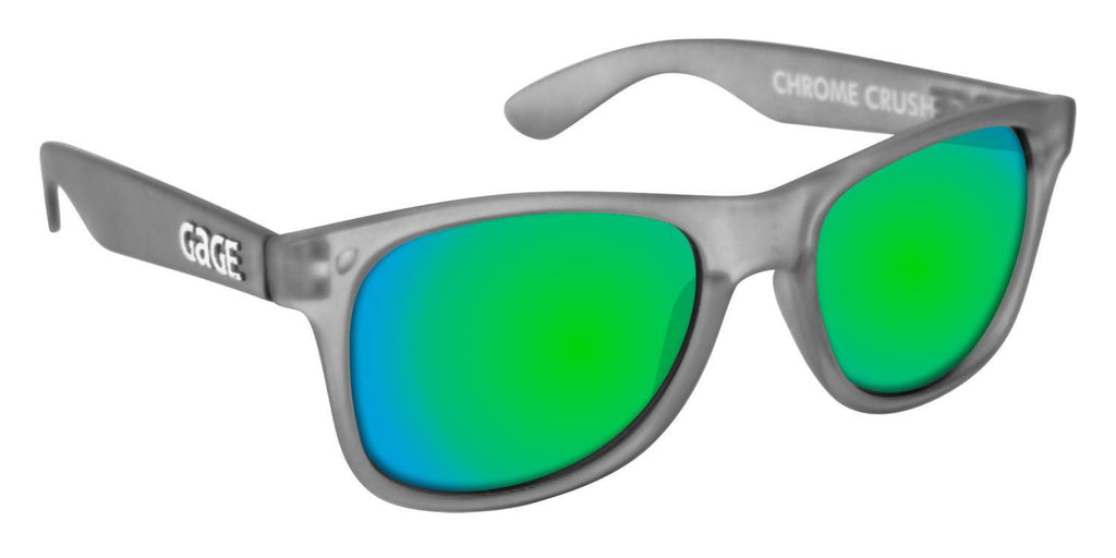 Grey Wayfarer Sunglasses With Apple Green Mirrored Lenses