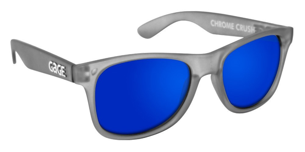 Grey Wayfarer Sunglasses With Blue Mirrored Lenses