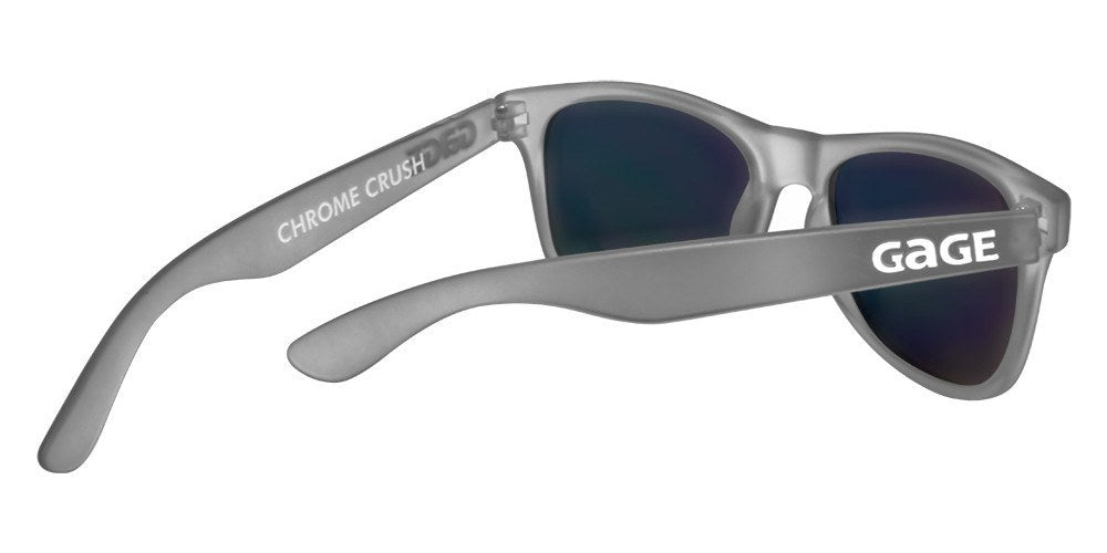 Grey Wayfarer Sunglasses With Purple Mirrored Lenses - 3