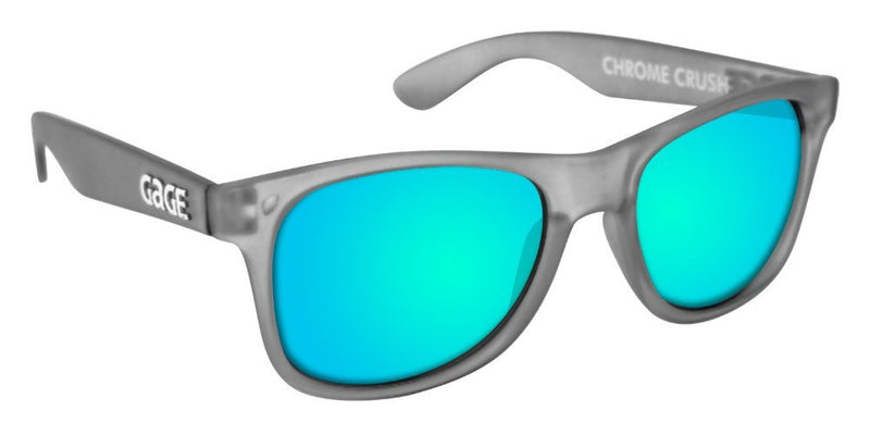 Grey Sunglasses With Light Blue Mirrored Lenses
