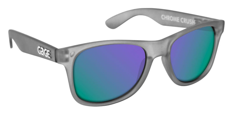 Grey Sunglasses With Purple Mirrored Lenses