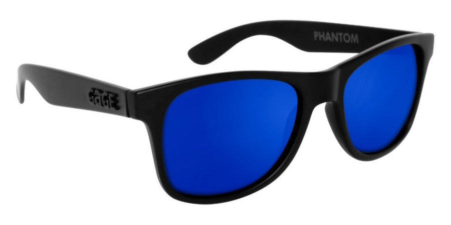 Black Sunglasses With Blue Mirrored Lenses
