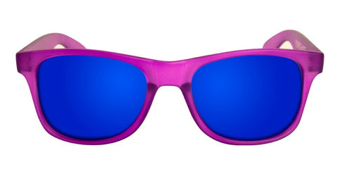 Purple Wayfarer Sunglasses With Blue Mirrored Lenses - 1