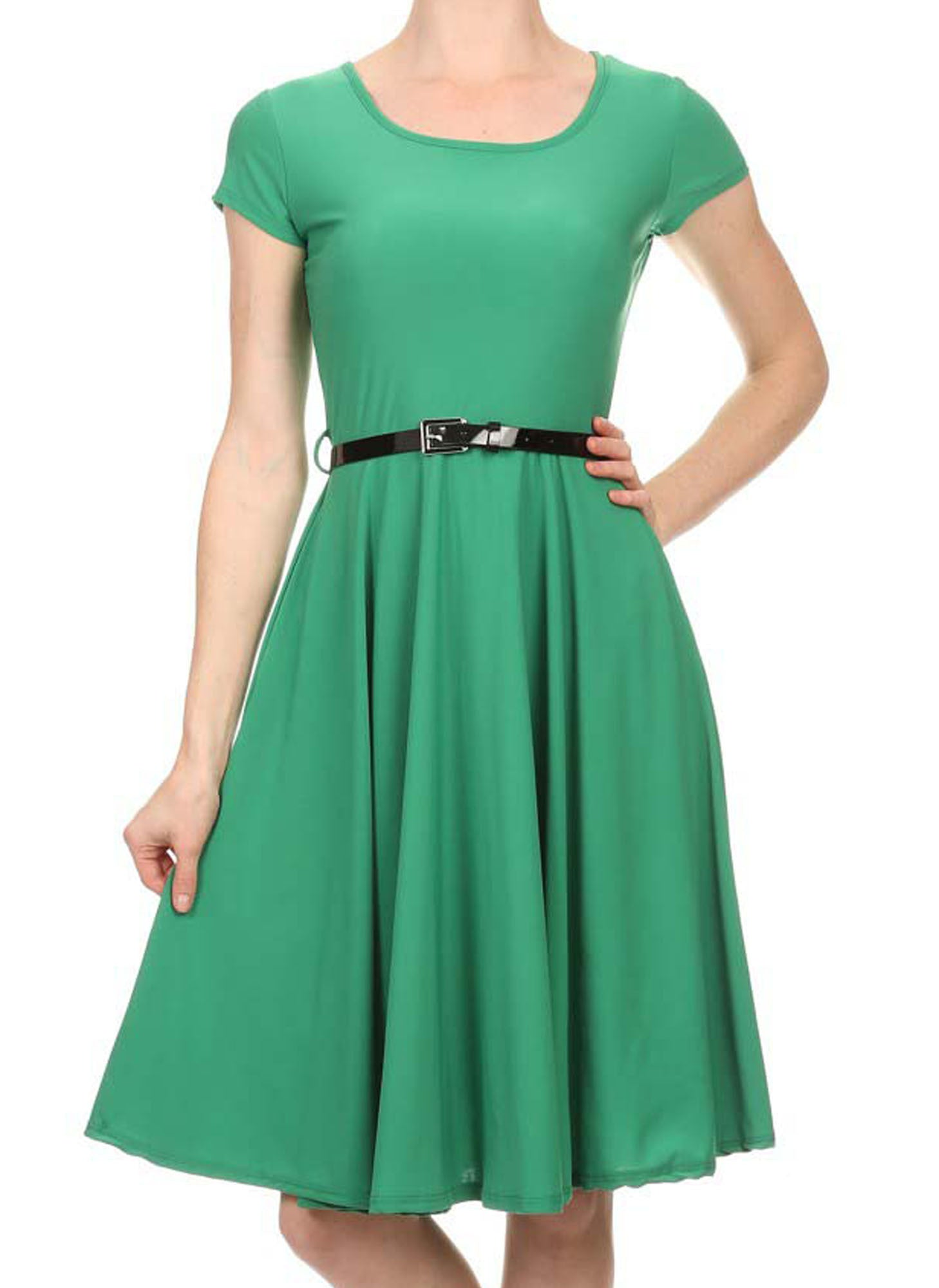 Avital Belted Slimming Stretch Day Dress (Green Solid),Dress,Avital - Discount Divas