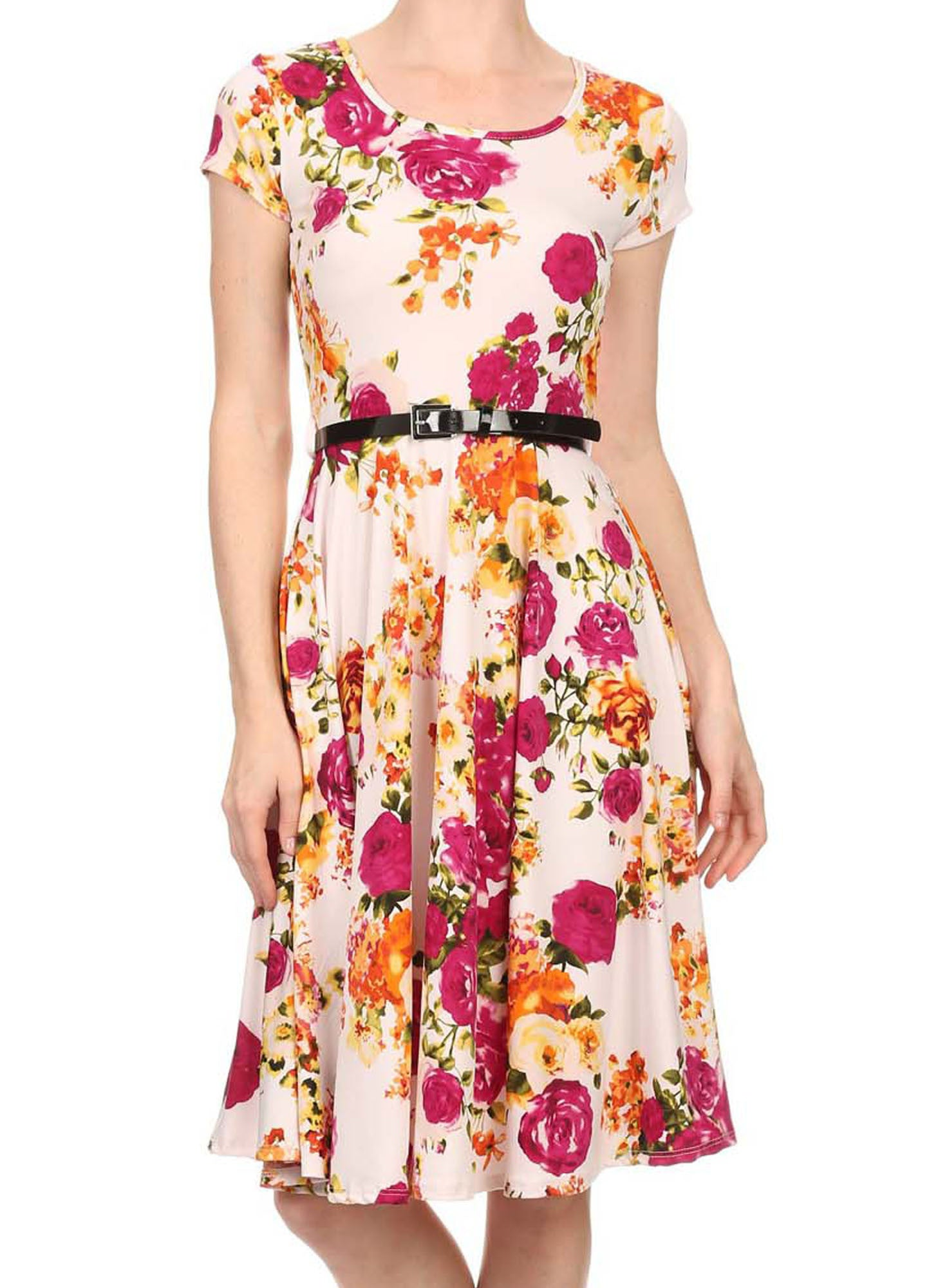 Avital Belted Slimming Day Dress (Cream Pink Floral),Dress,Avital - Discount Divas