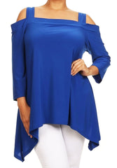 Avital Cold Shoulder Trapeze Top (Royal Blue Solid),Shirts,Avital - Discount Divas