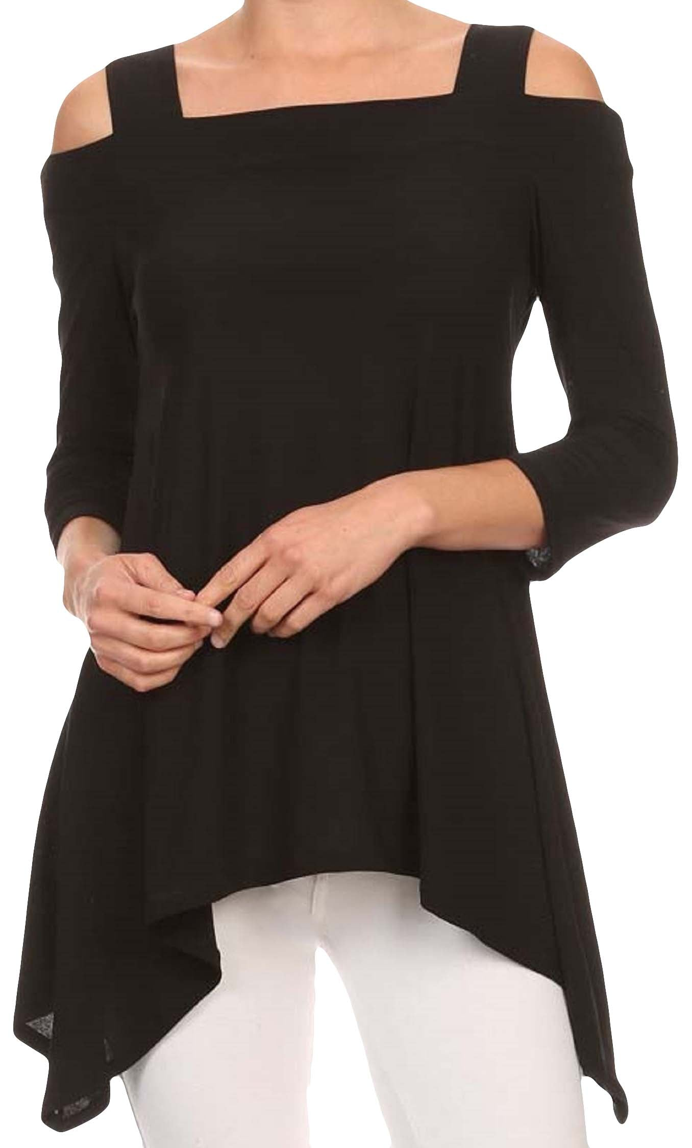 Moraea Womens Cold Shoulder Tunic Shirt | Solid Black,Shirts,Moraea - Discount Divas