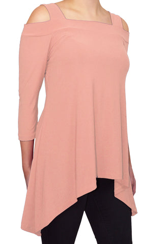 Avital Cold Shoulder Trapeze Tunic Shirt | Blush Pink
