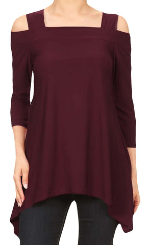 Moraea Womens Cold Shoulder Tunic Shirt | Burgundy Red