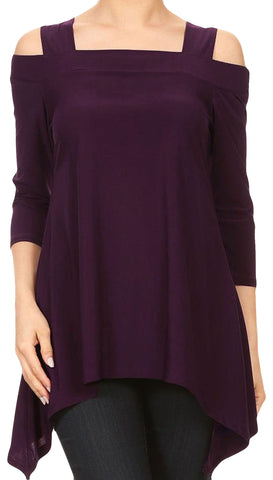 Moraea Womens Cold Shoulder Tunic Shirt | Eggplant Purple