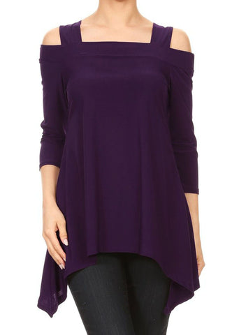 Avital Womens Cold Shoulder Asymmetrical Trapeze Shirt | Eggplant Purple,Shirts,Avital - Discount Divas