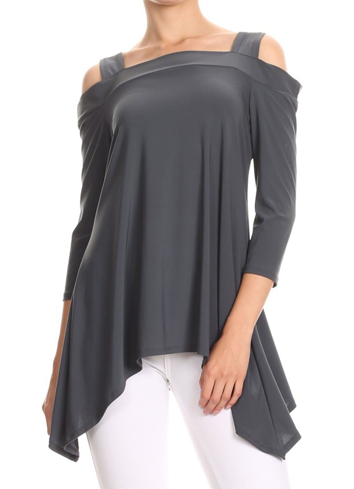 Avital Womens Cold Shoulder Asymmetrical Trapeze Shirt | Gray,Shirts,Avital - Discount Divas