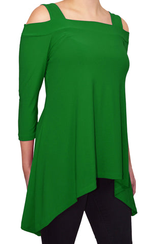Avital Cold Shoulder Trapeze Tunic Shirt | Kelly Green
