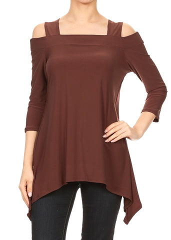 Avital Womens Cold Shoulder Asymmetrical Trapeze Shirt | Mocha Brown,Shirts,Avital - Discount Divas