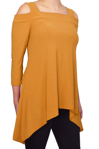 Avital Cold Shoulder Trapeze Tunic Shirt | Mustard Yellow