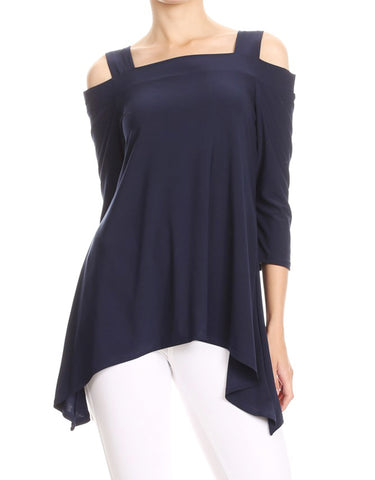 Avital Womens Cold Shoulder Asymmetrical Trapeze Shirt | Navy Blue,Shirts,Avital - Discount Divas