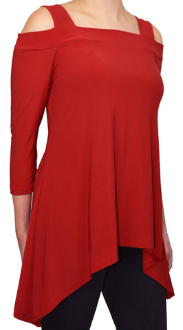 Moraea Womens Cold Shoulder Tunic Shirt | Red,Shirts,Moraea - Discount Divas