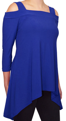 Moraea Womens Cold Shoulder Tunic Shirt | Royal Blue,Shirts,Moraea - Discount Divas