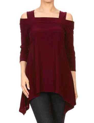 Avital Womens Cold Shoulder Asymmetrical Trapeze Shirt | Red Wine,Shirts,Avital - Discount Divas