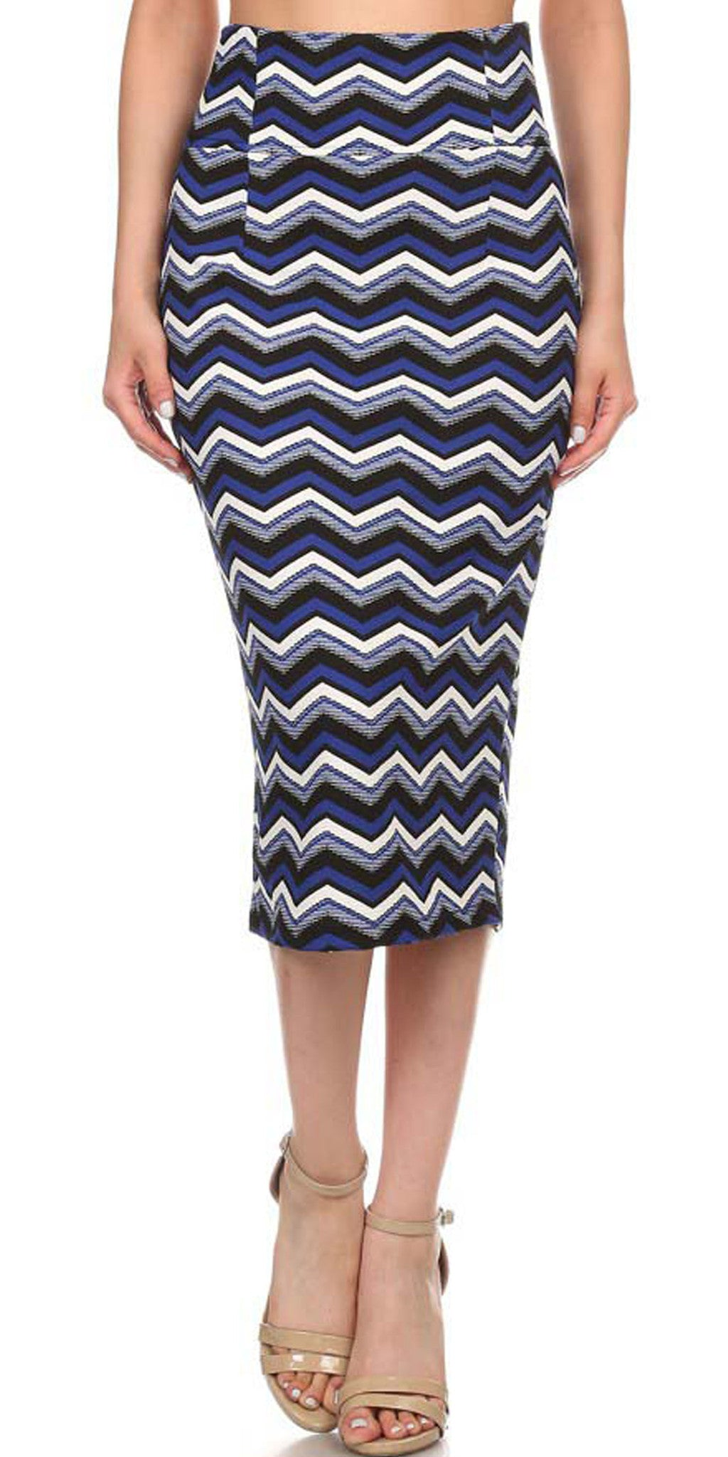 Avital Chevron Stretch Midi Straight Pencil Skirt (Royal Blue White Black),Skirts,Avital - Discount Divas