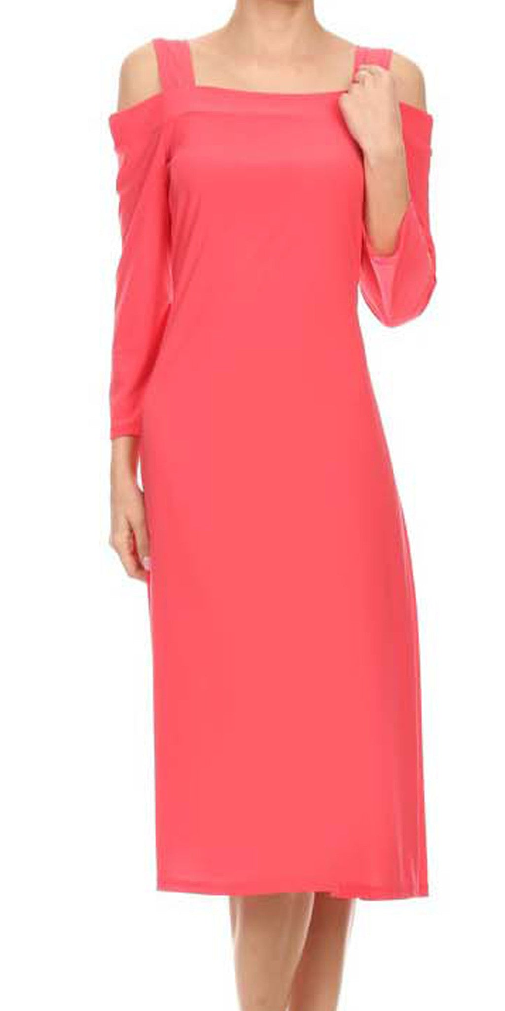 Avital Cold Shoulder Stretch Midi Dress (Coral Pink),Dress,Avital - Discount Divas