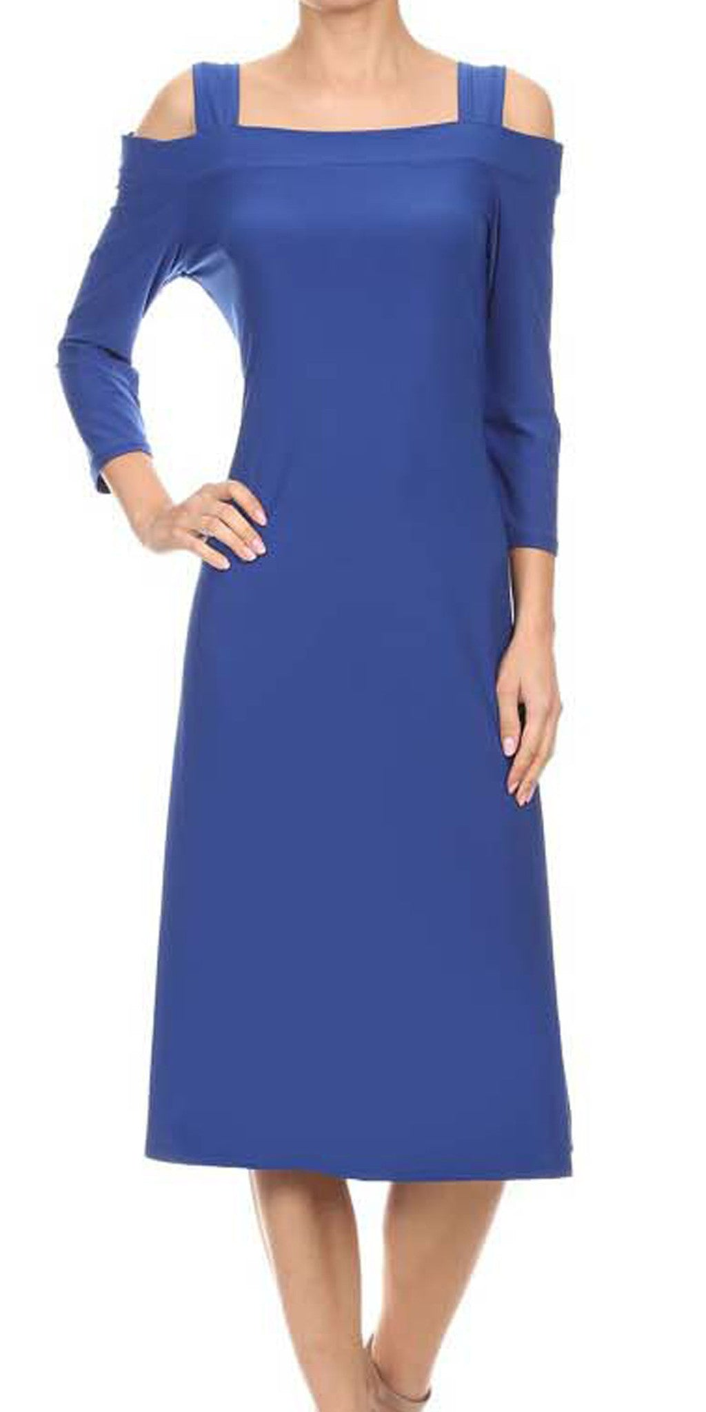 Avital Cold Shoulder Stretch Midi Dress (Royal Blue Solid),Dress,Avital - Discount Divas