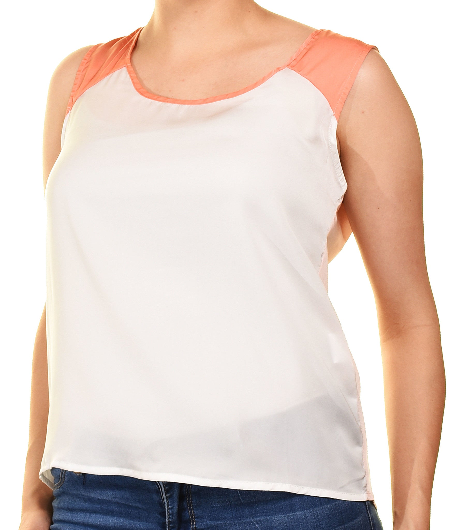Grifflin Paris Colorblocked Cropped Shirt (Coral White),Shirts,Grifflin Paris - Discount Divas