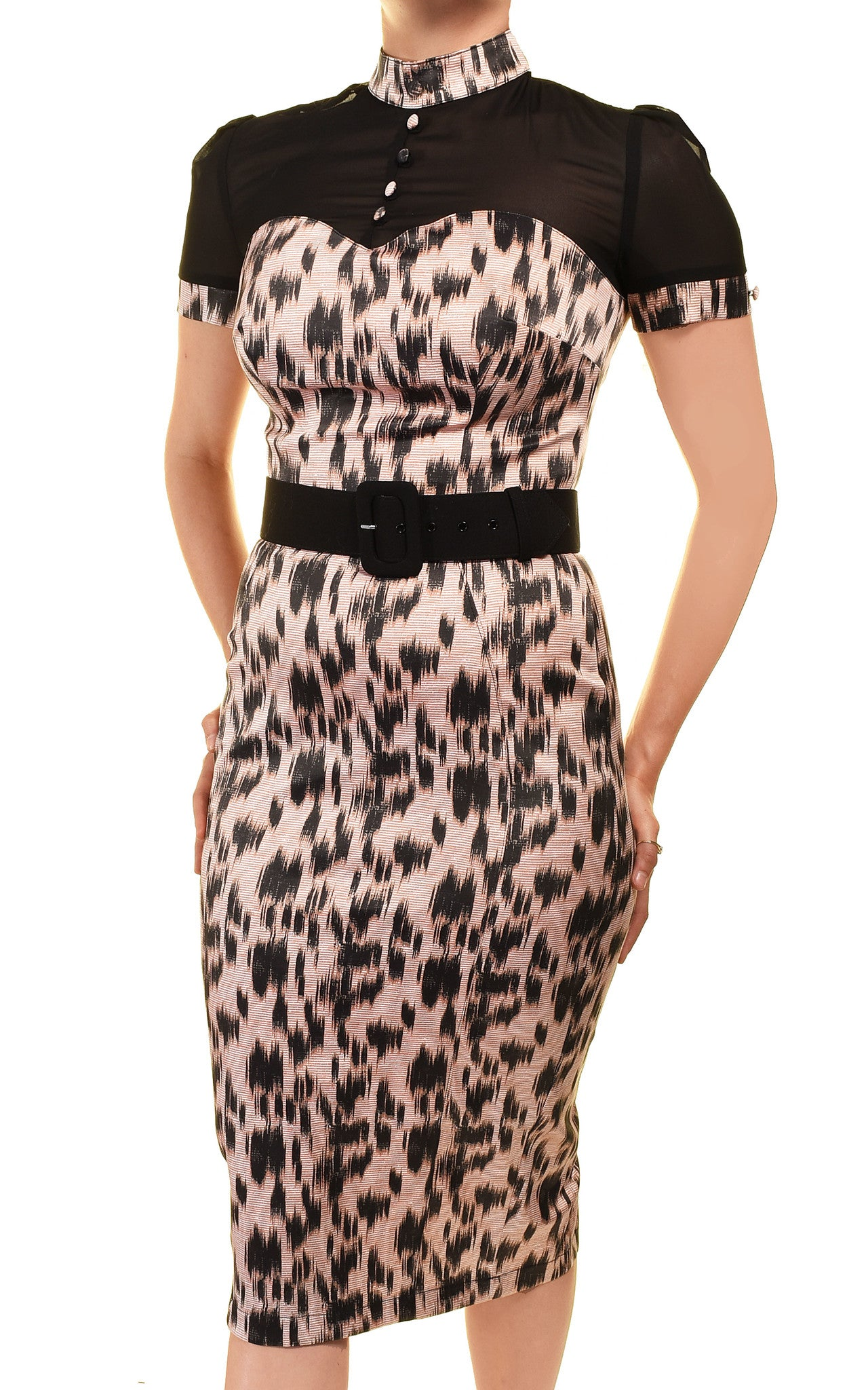 Pinup Couture Laura Byrnes Black Label Lillian Straight Fitted Pencil Dress | Pink Leopard