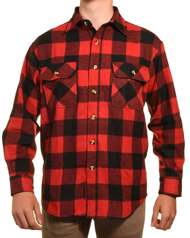 Guides Choice Pro Elite Mens Heavy Duty Flannel Shirt (Red Black Buffalo Check),Shirts,Guides Choice - Discount Divas