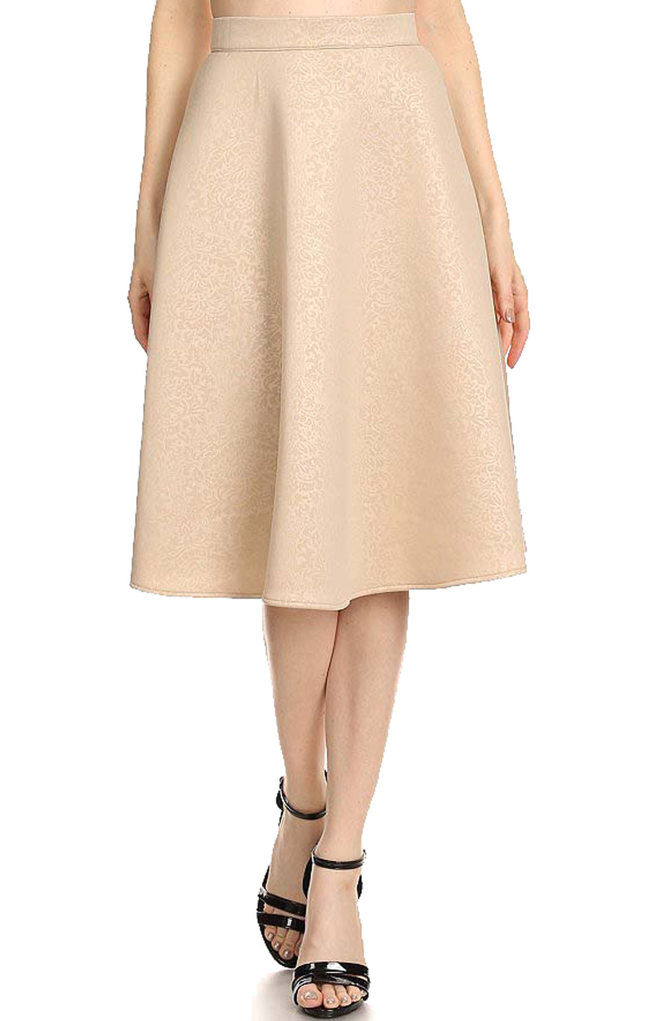 Avital Womens Damask Textured A-Line High Waisted Midi Skirt | Beige