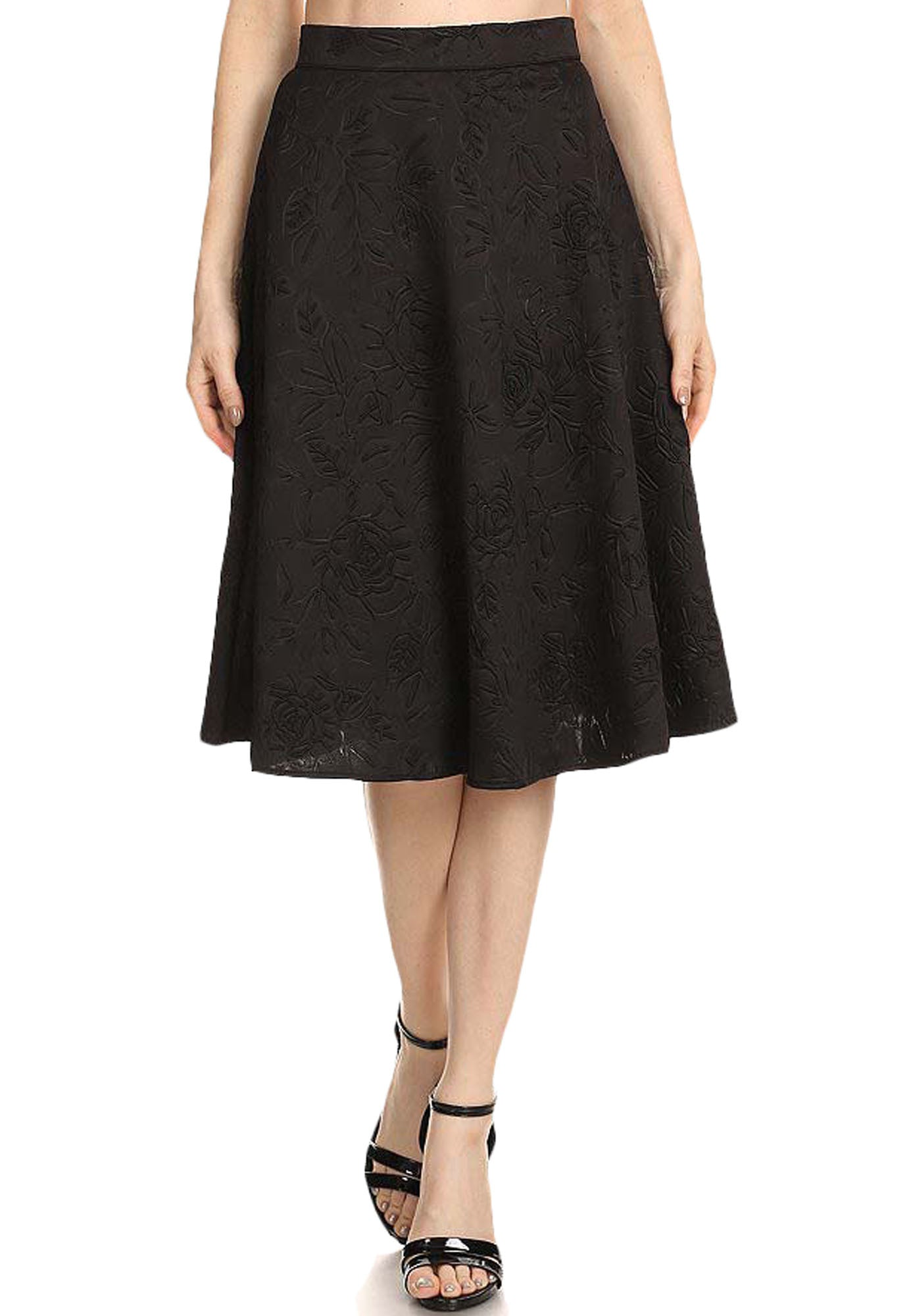 Avital Womens Damask Textured A-Line High Waisted Midi Skirt | Black,Skirts,Avital - Discount Divas