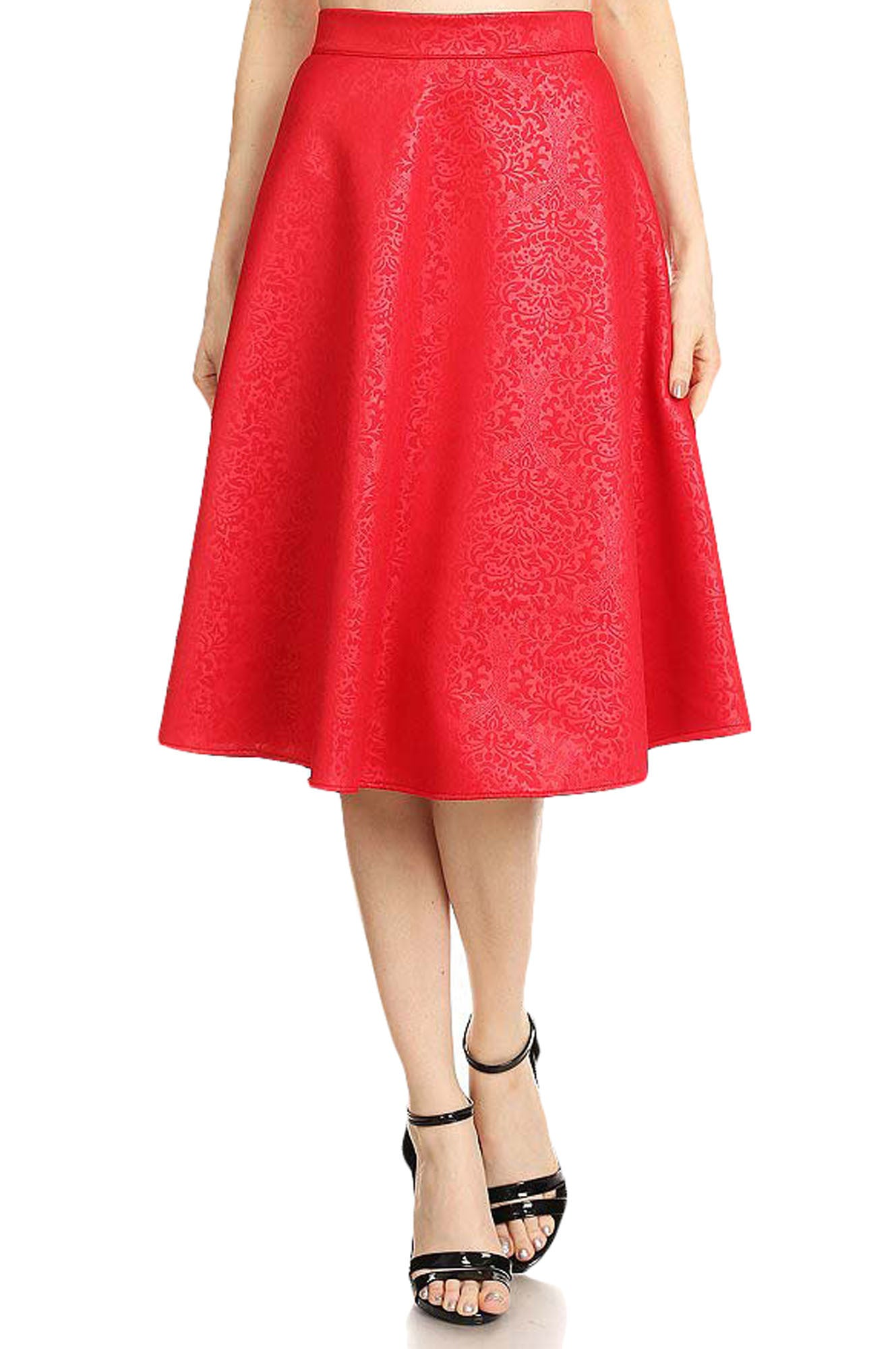 Avital Womens Damask Textured A-Line High Waisted Midi Skirt | Red