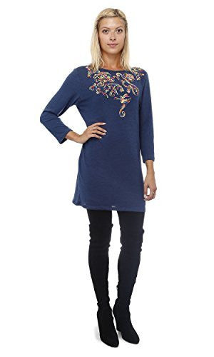 Highness Serpentine Embroidered Sweaterdress (Navy Rainbow),Sweaters,Highness - Discount Divas