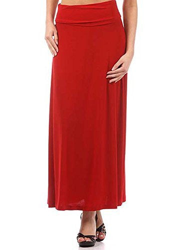 Avital Solid Stretch Maxi Skirt (Red),Skirts,Avital - Discount Divas