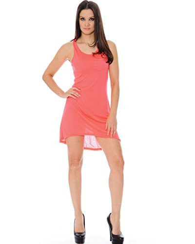 True Rock High Low T-Shirt Dress (Neon Pink)