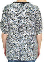 Crystal Accent Roll Tab Stretch Shirt (Blue Leopard),Shirts,Loving It - Discount Divas