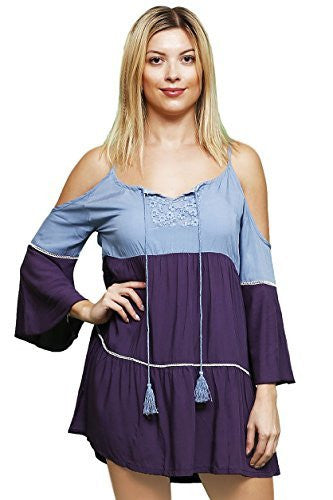 Highness Cold Shoulder Empire Tunic Shirt (Periwinkle Blue Eggplant Purple),Shirts,Highness - Discount Divas