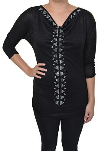 Absolutely Famous Studded Pyramids Embellished Knit Shirt (Black Silver),Shirts,Absolutely Famous - Discount Divas
