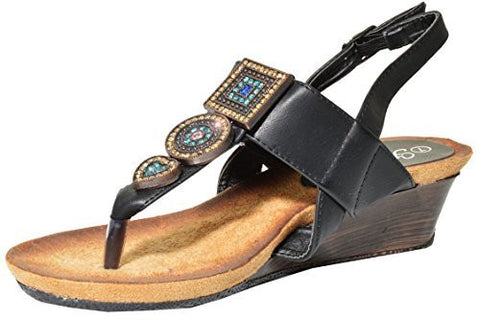 Herever Jeweled Comfort Wedge T-Strap Sandal Shoes (Black),Sandals,Herever - Discount Divas