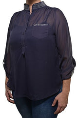 Penelope Project Plus High Low Chiffon Blouse (Navy Blue)