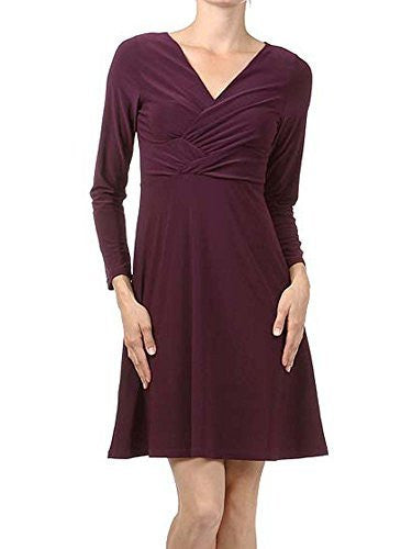 Avital V-Neck Empire Stretch Dress (Eggplant Purple),Dress,Avital - Discount Divas