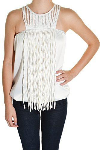 Grifflin Paris Satin Fringe Halter Club Cocktail Shirt (White)