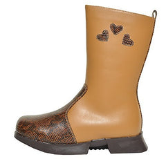 Madness Jr Girls Tall Leather Snakeskin Boots (Camel Brown),Boots,Madness Jr. - Discount Divas