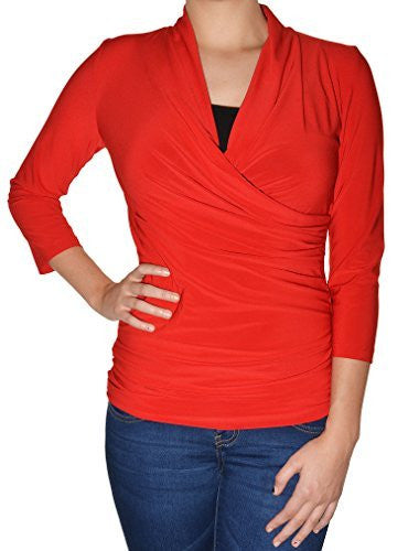 Avital Solid Ruched Stretch Shirt (Red),Shirts,Avital - Discount Divas