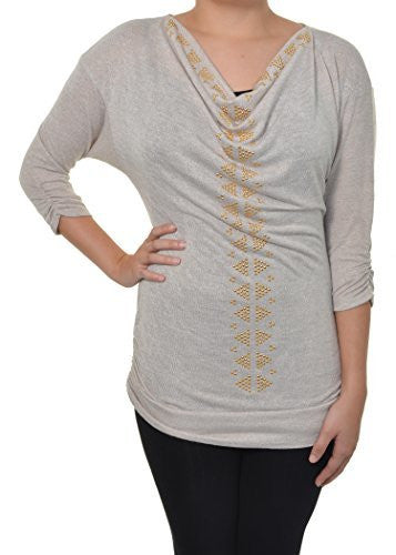 Absolutely Famous Studded Pyramids Embellished Knit Shirt (Taupe Gold),Shirts,Absolutely Famous - Discount Divas