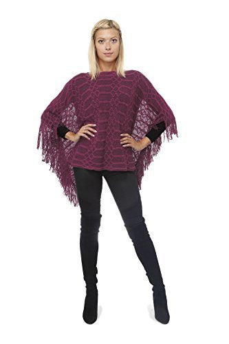 Highness Slub Knit Fringed Poncho Shirt,Sweaters,Highness - Discount Divas